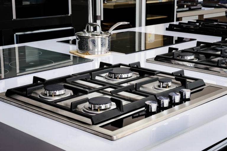 Gas fire in modern kitchen island inset appliance