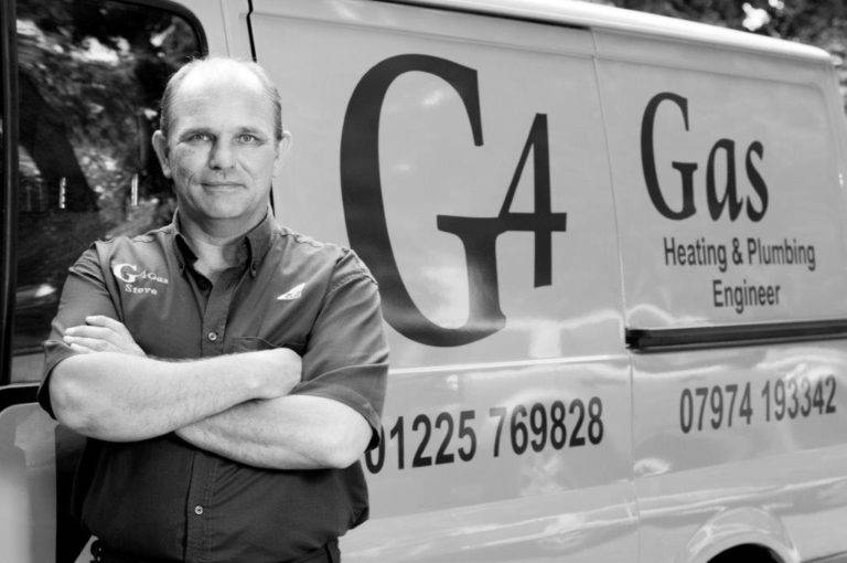g4 gas engineer steve stood in front of van