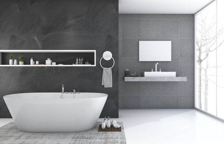 modern greyscale bathroom with large bathub and wash basin