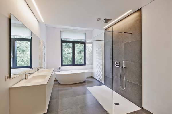 modern sand coloured bathroom