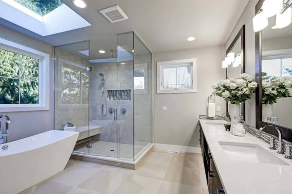 modern white bathroom with roof windows
